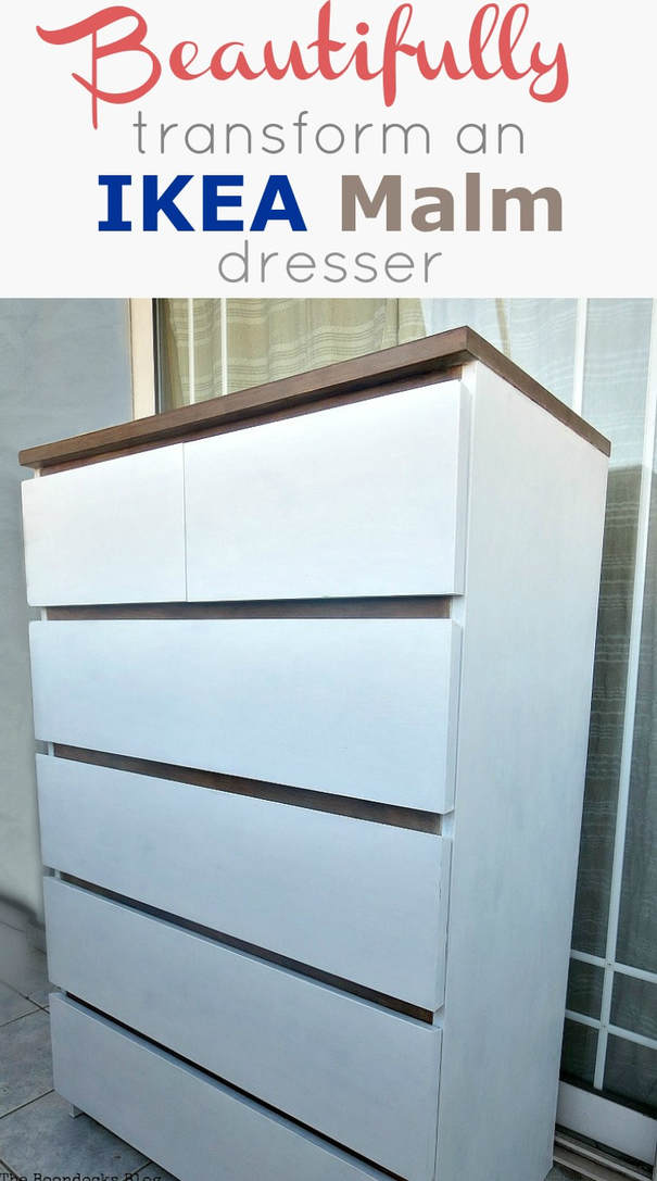 How to paint and up-cycle a black Ikea Malm dresser beautifully and transform it into a white and walnut farmhouse look, #paintedfurniture #furnitureupcycle #dressermakeover #ikeahack #Ikeamalmdresser #farmhousestyledresser #walnutstain How To Beautifully Transform an Ikea Malm Dresser www.theboondocksblog.com