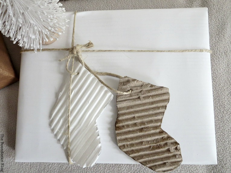 white wrapping paper or reverse of whatever you have, Three simple gift wrapping ideas for the Holidays, www.theboondocksblog.com