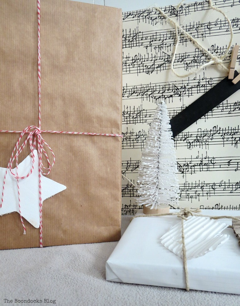 boxes wrapped in neutral papers for the holidays, Three simple gift wrapping ideas for the Holidays, www.theboondocksblog.com