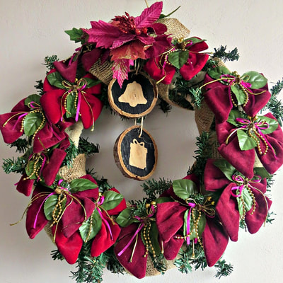 Wreath with wood slices