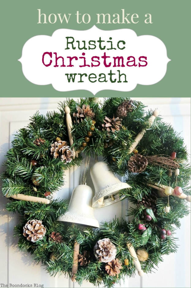 How to make a rustic Christmas wreath using rustic elements such as pine cones, traditional clothes pins and re-purposed, earthy colored necklace beads, #rusticwreath #pinecones #Christmaswreath #Naturalwreath #repurposedbeads #upcycled