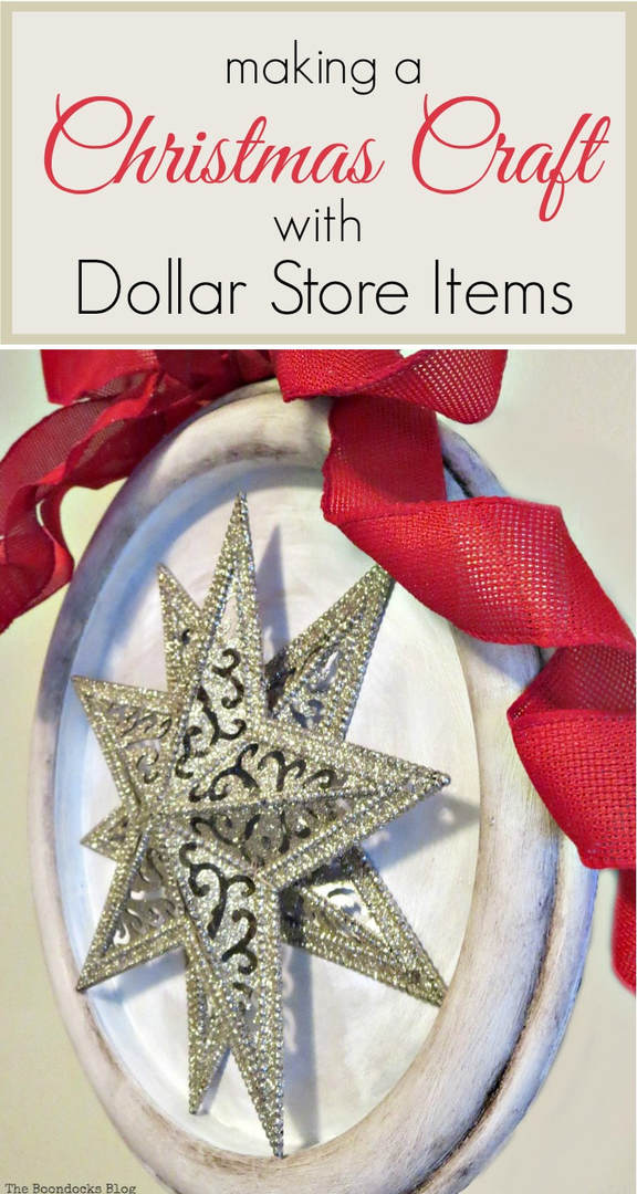How to make a Christmas craft with 2 stars from the dollar store set into a clock frame, #Christmas Crafts #ChristmasWallDecor #Repurposedwallclock #DollarStoreItems How to Make a Christmas Craft with Dollar Store Items www.theboondocksblog.com