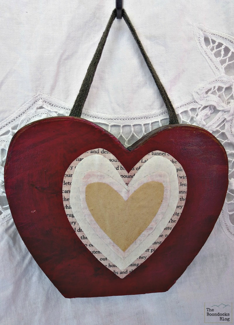 Decoupaged Wooden Heart, Ten Projects for a Special Valentine's Day www.theboondocksblog.com