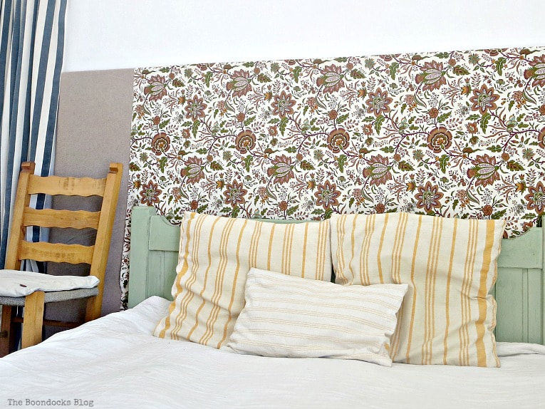 backboard covered with fabric, How to Make an Easy Cover for a Bedroom Clothes Rack www.theboondocksblog.com