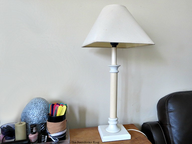White lamp before, How to Give a New Life to Old Lamps www.theboondocksblog.com