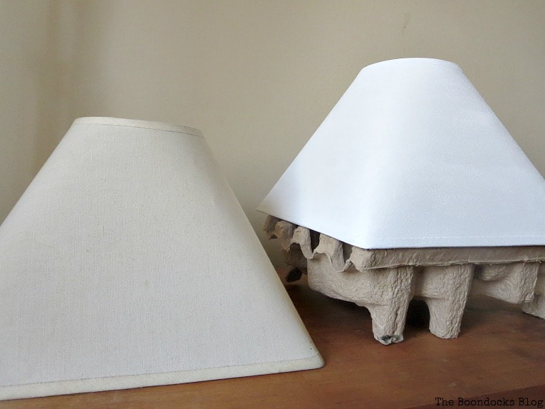 lamp shade one unpainted, and one painted with chalky finish everlasting, How to Give a New Life to Old Lamps www.theboondocksblog.com