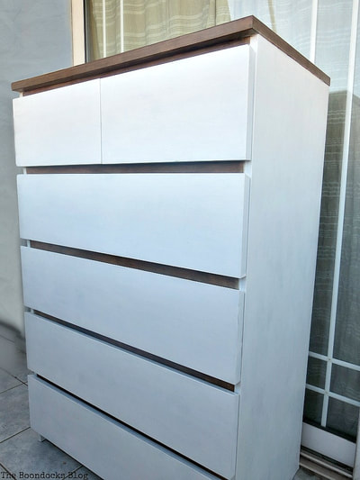 Ikea malm dresser painted in white and stain.