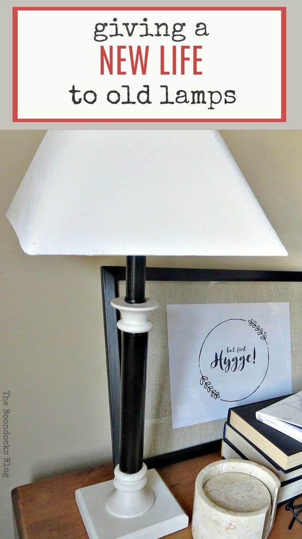 Upcycling old lamps with satin paint and chalky type paint #upcycle #makeover #newlifeforoldlamp #paintedlampshade #easydiy How to Give a New Life to Old Lamps www.theboondocksblog.com