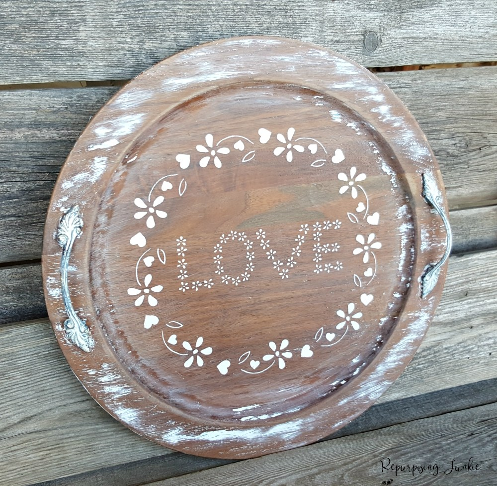 Stenciled Wooden Tray Repurposing Junkie, Ten Projects for a Special Valentine's Day www.theboondocksblog.com