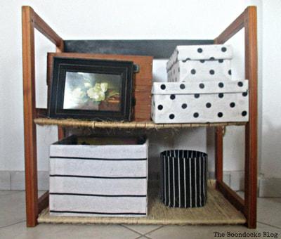 Storage unit upcycled with twine