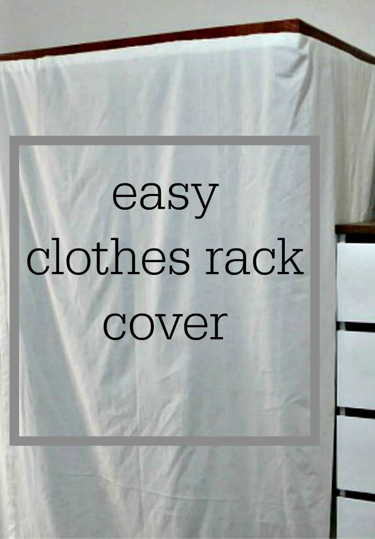"""Clothes rack cover with overlay that says """"easy clothes rack cover."""""""