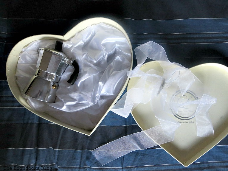 Heart Shaped Box with espresso set inside, A Heart Shaped Box for Valentine's Day Crafting www.theboondocksblog.com