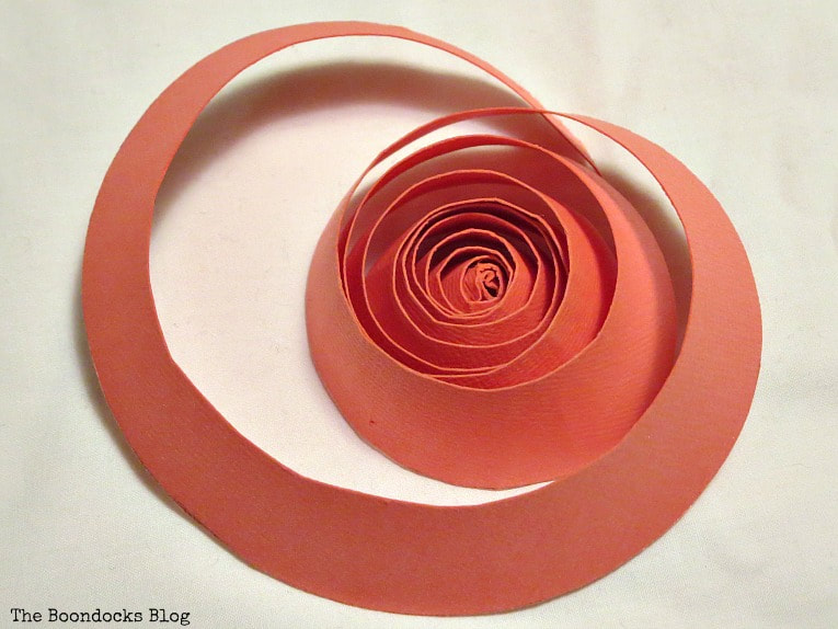 circle cut into spiral, A Heart Shaped Box for Valentine's Day Crafting www.theboondocksblog.com