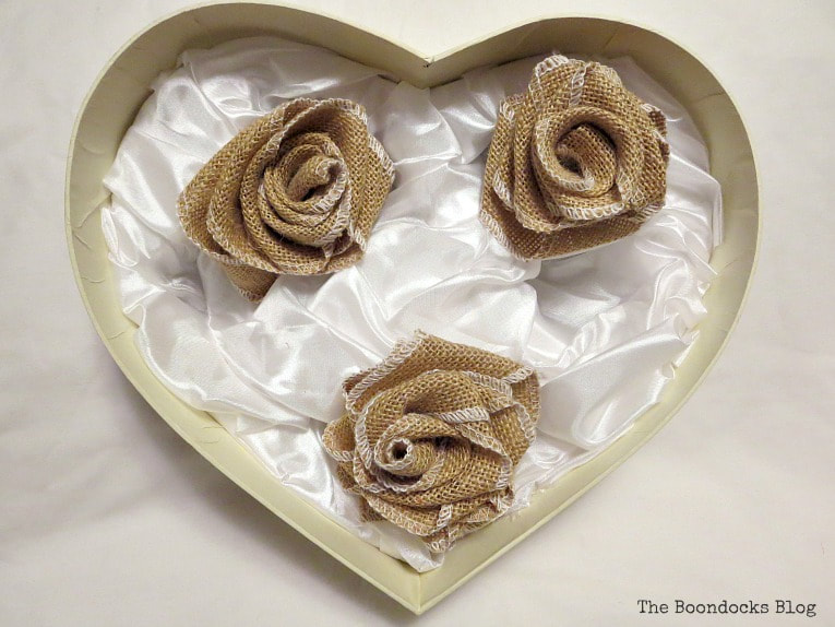 Burlap roses placed inside heart shaped box, A Heart Shaped Box for Valentine's Day Crafting www.theboondocksblog.com