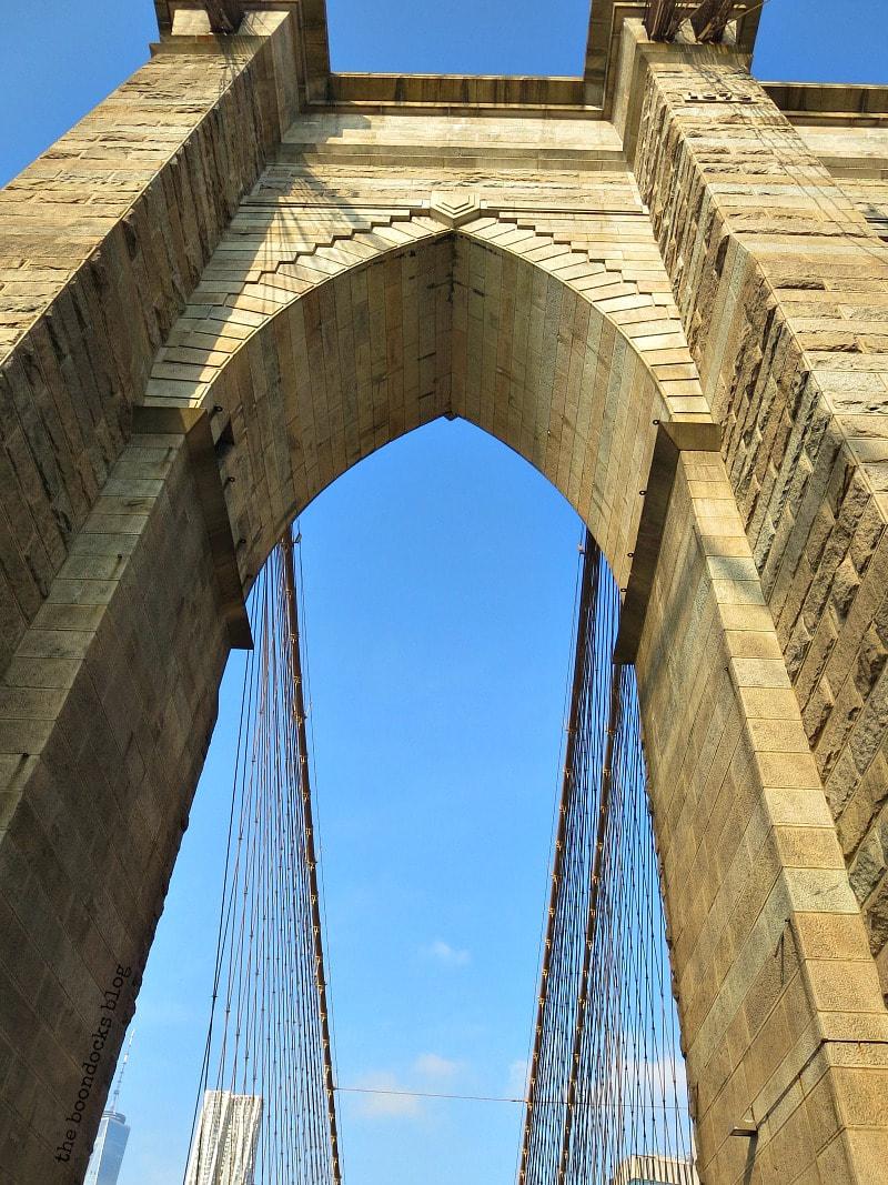 Looking up at the Towers of the Brooklyn Bridge, A Tour of the Astonishing Brooklyn Bridge Walkway www.theboondocksblog.com