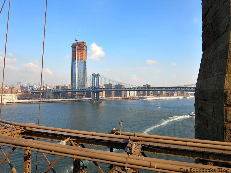 A view of the East River from the Bridge, A Tour of the Astonishing Brooklyn Bridge Walkway www.theboondocksblog.com