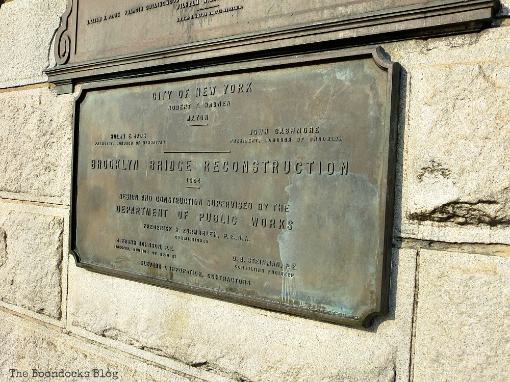 A plaque of the Brooklyn Bridge, A Tour of the Astonishing Brooklyn Bridge Walkway www.theboondocksblog.com