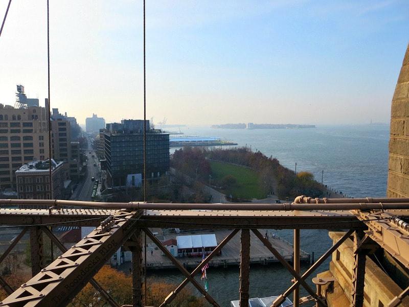 Looking south from the Brooklyn Bridge to Brooklyn Bridge Park. A Tour of the Astonishing Brooklyn Bridge Walkway www.theboondocksblog.com