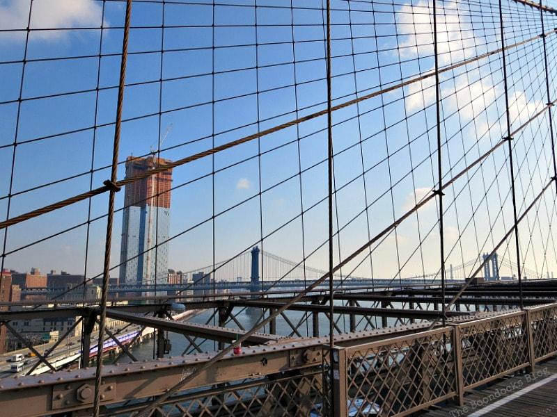 Looking north from the Brooklyn Bridge at the Manhattan Bridge, A Tour of the Astonishing Brooklyn Bridge Walkway www.theboondocksblog.com