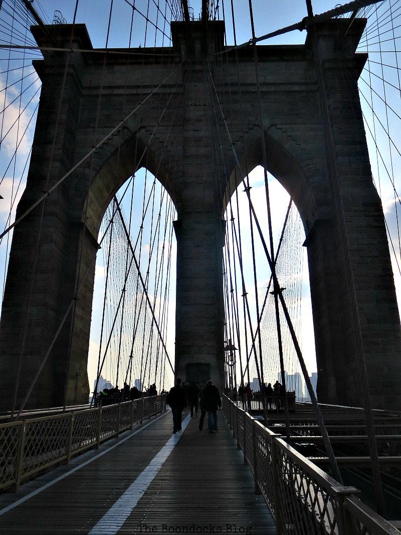 The first tower of the Brooklyn Bridge, A Tour of the Astonishing Brooklyn Bridge Walkway www.theboondocksblog.com