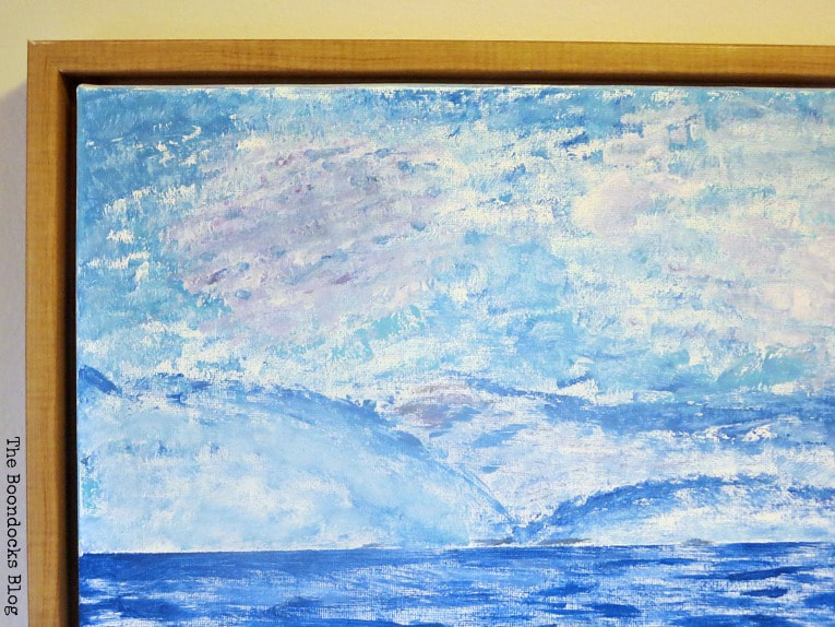 Detail of the sky and the frame, How to Make your Own Impressionist Art Painting www.theboondocksblog.com