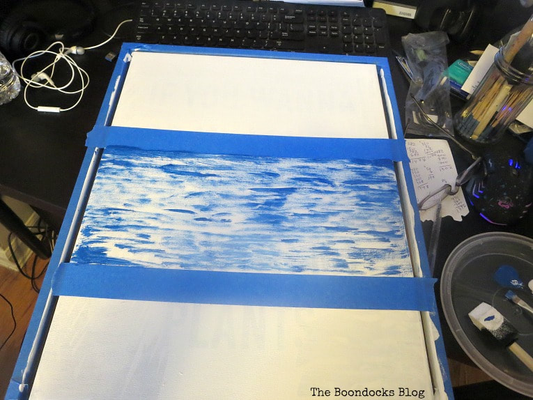 Using masking tape to section off the different areas, How to Make your Own Impressionist Art Painting www.theboondocksblog.com