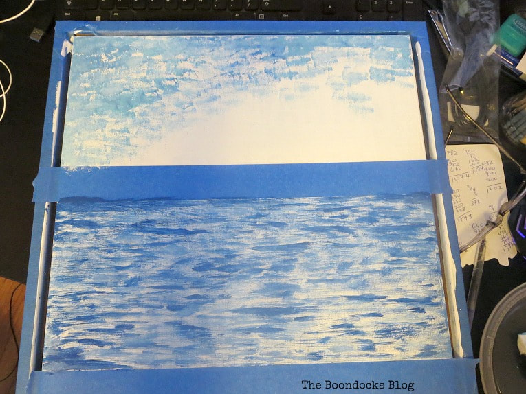 Painting the upper part of sky, How to Make your Own Impressionist Art Painting www.theboondocksblog.com