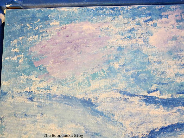 lilac clouds in the sky, How to Make your Own Impressionist Art Painting www.theboondocksblog.com