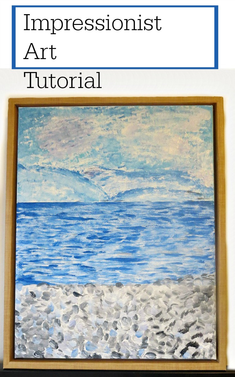 By repurposing a printed canvas with frame, you can create an Impressionist Art painting, A tutorial of how to create abstract art. #ArtTutorial, #Monet #Rothko #abstractart #ImpressionistArt #Bluecolors #Sealandscape, #Painting How to Make your Own Impressionist Art Painting www.theboondocksblog.com
