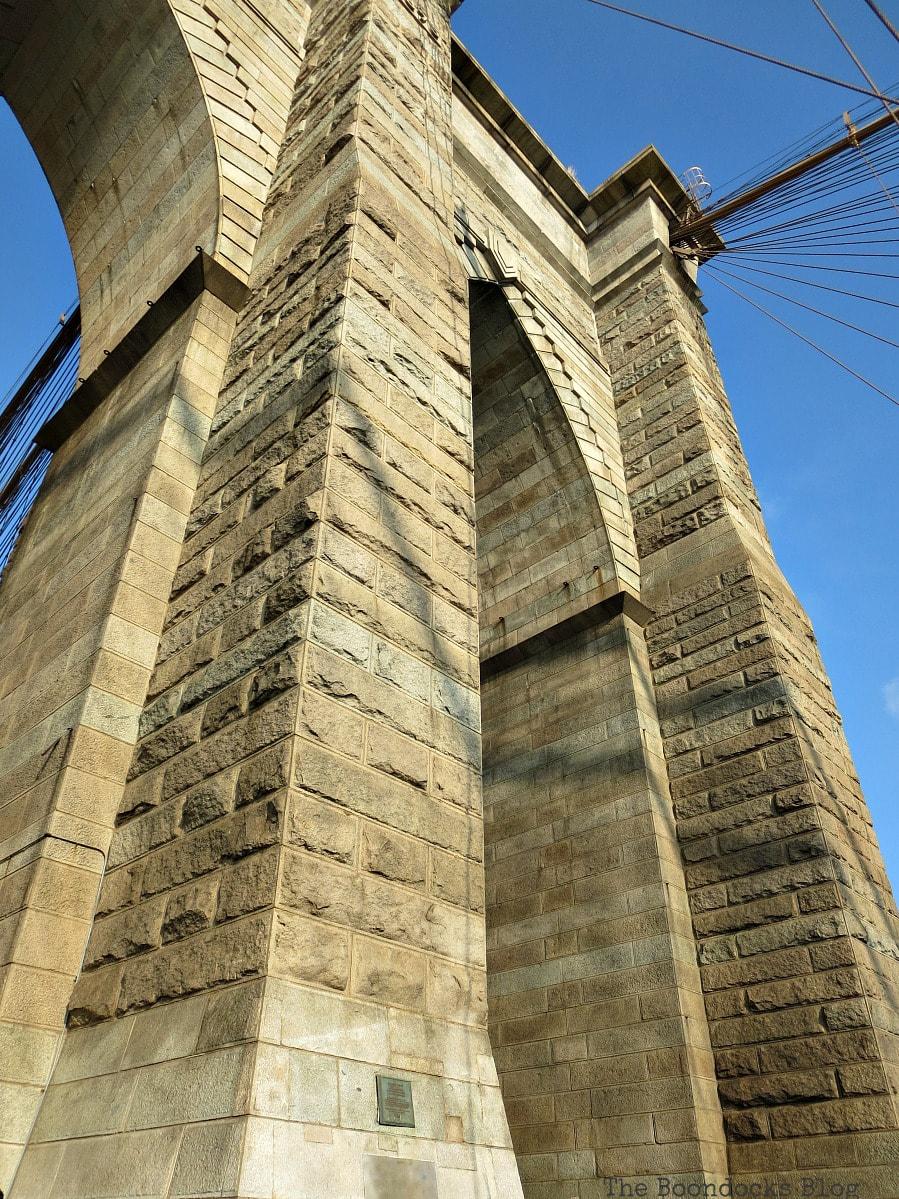 The massive towers of the bridge, A Tour of the Astonishing Brooklyn Bridge Walkway www.theboondocksblog.com