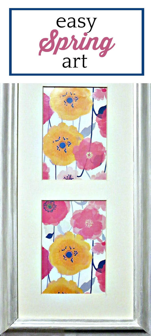"Flower wrapping paper placed inside a frame with text overlay ""easy spring art."""