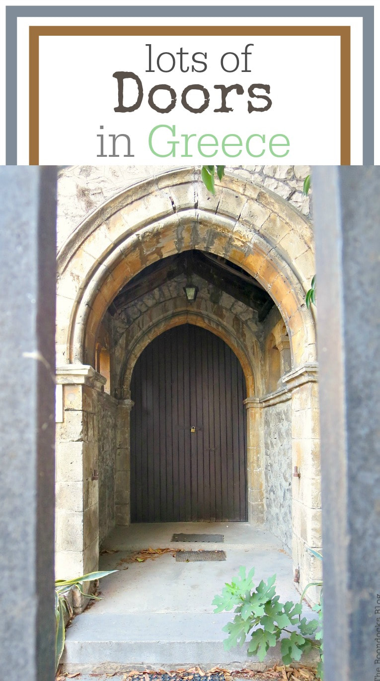 Photo essay with lots of doors from Greece and reflections on this past year and the changes on my blog and life for the three year Blogoversary, #photography #photoessay #Greece #Greekdoors #stonebuildings #travel Celebrating a 3 year Blogoversary with Lots of Doors www.theboondocksblog.com
