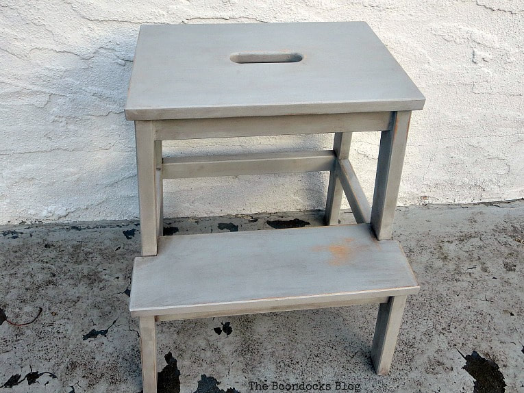 The finished stool, How to get an Easy Worn Look for an Ikea Stool, www.theboondocksblog.com