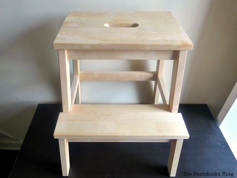 Ikea Bekvam step stool made with natural wood.