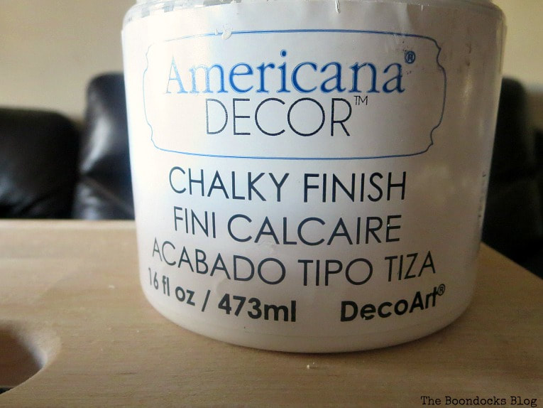 Americana Decor Chalky Finish paint in everlasting, How to get an Easy Worn Look for an Ikea Stool, www.theboondocksblog.com