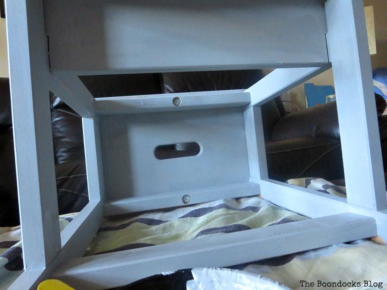 The painted underside of the Ikea Bekvam step stool.