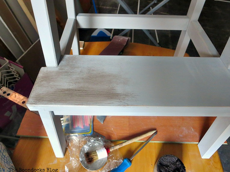 Adding the dark wax on top of the cream wax, How to get an Easy Worn Look for an Ikea Stool, www.theboondocksblog.com