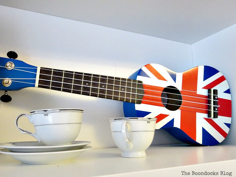 Tea cups and a ukulele with union jack, A Bedframe Refresh and Progress in the Room www.theboondocksblog.com