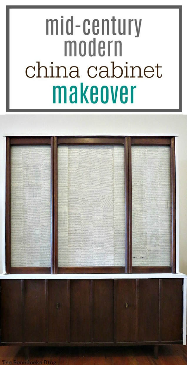 Tutorial on how to makeover a mid century modern china cabinet that has damaged veneer with chalky type paint, tung oil and decoupaged book pages, #MCMfurniture #MidCenturyModern #midcenturyChinacabinet #Furnituremakeover #paintedfurniture #chalkytypepaintedfurniture #decoupagedglassdoors #hidingyourstuff How to Makeover a Mid-Century Modern China Cabinet, www.theboondocksblog.com