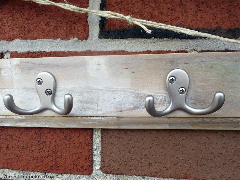 Hooks on rustic wood rack, How to Make an Easy Rustic Hook Rack www.theboondocksblog.com