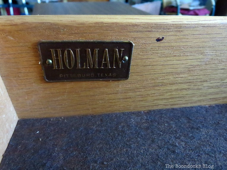 label of the manufacturer Holman, How to Makeover a Mid-Century Modern China Cabinet, www.theboondocksblog.com