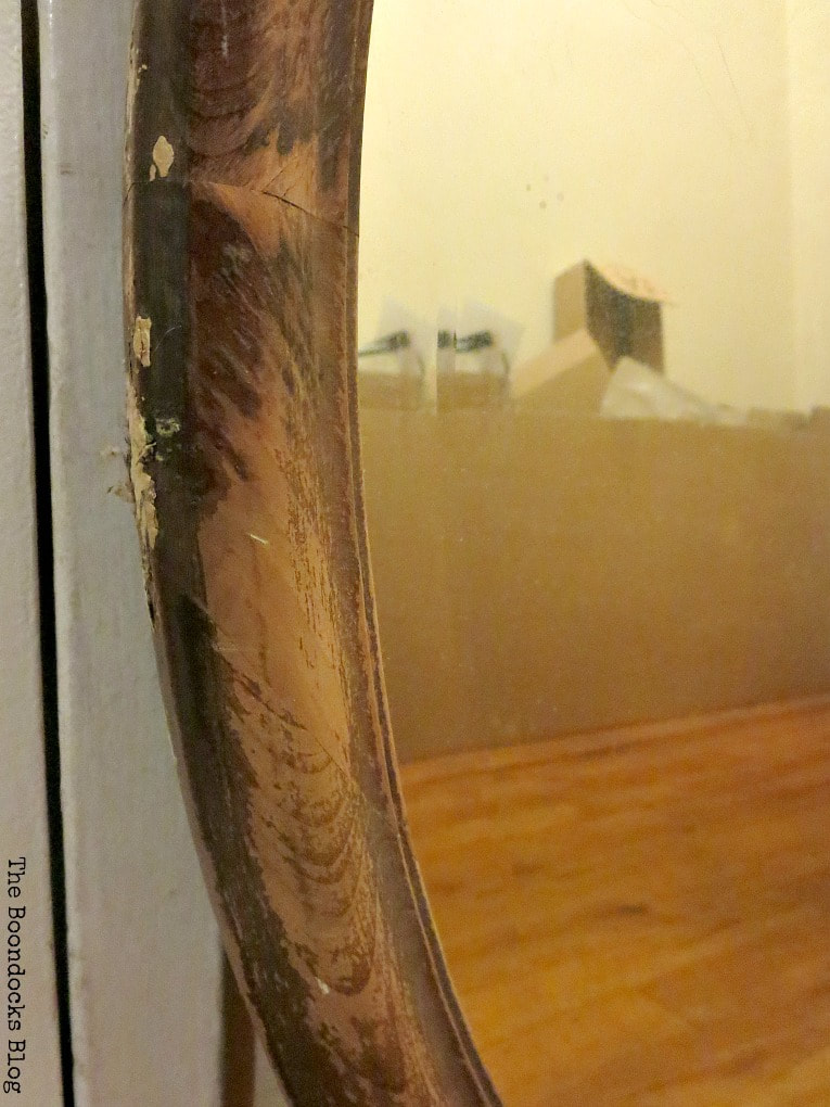 Detail of scratched mirror, How to Revive an Old Wood Mirror with Paint www.theboondocksblog.com