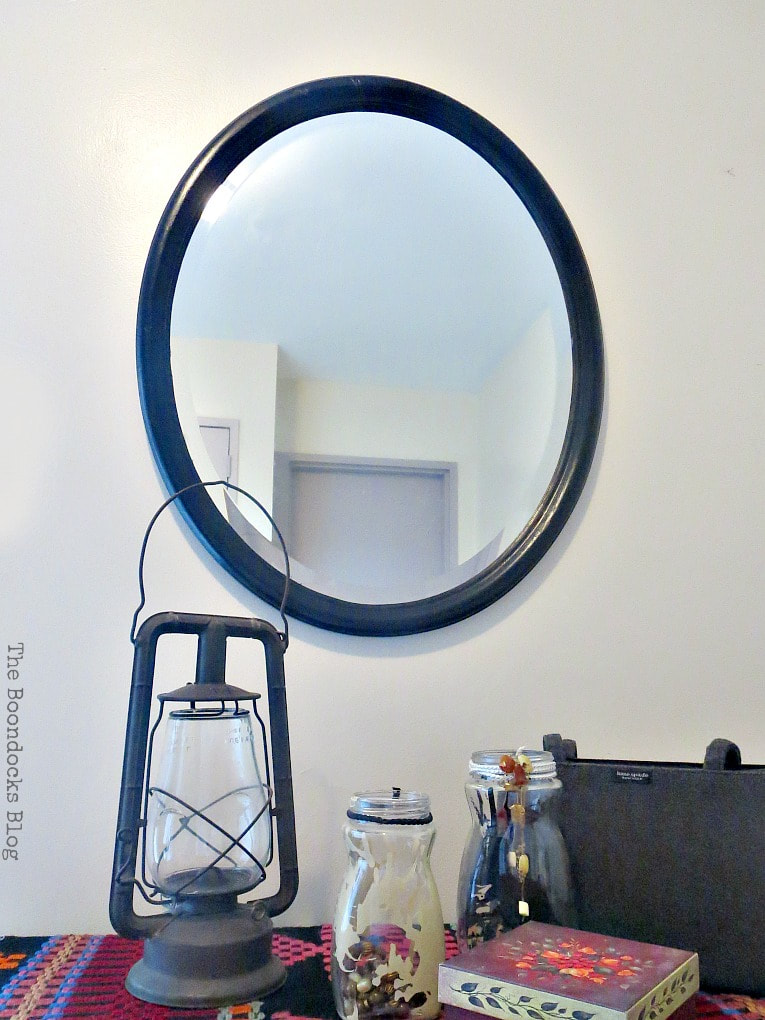 Mirror in foyer, How to Revive an Old Wood Mirror with Paint www.theboondocksblog.com