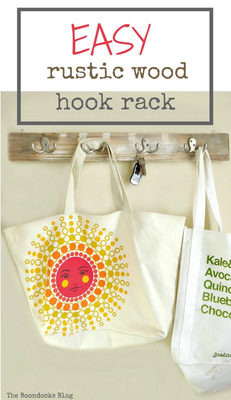 tutorial on how to make a rustic wood rack using wood and hooks, #easyDIY #EasyOrganizing #Rusticrack #Farmhouse #Hookrack #coatrack #entrywayhookrack How to Make an Easy Rustic Hook Rack www.theboondocksblog.com