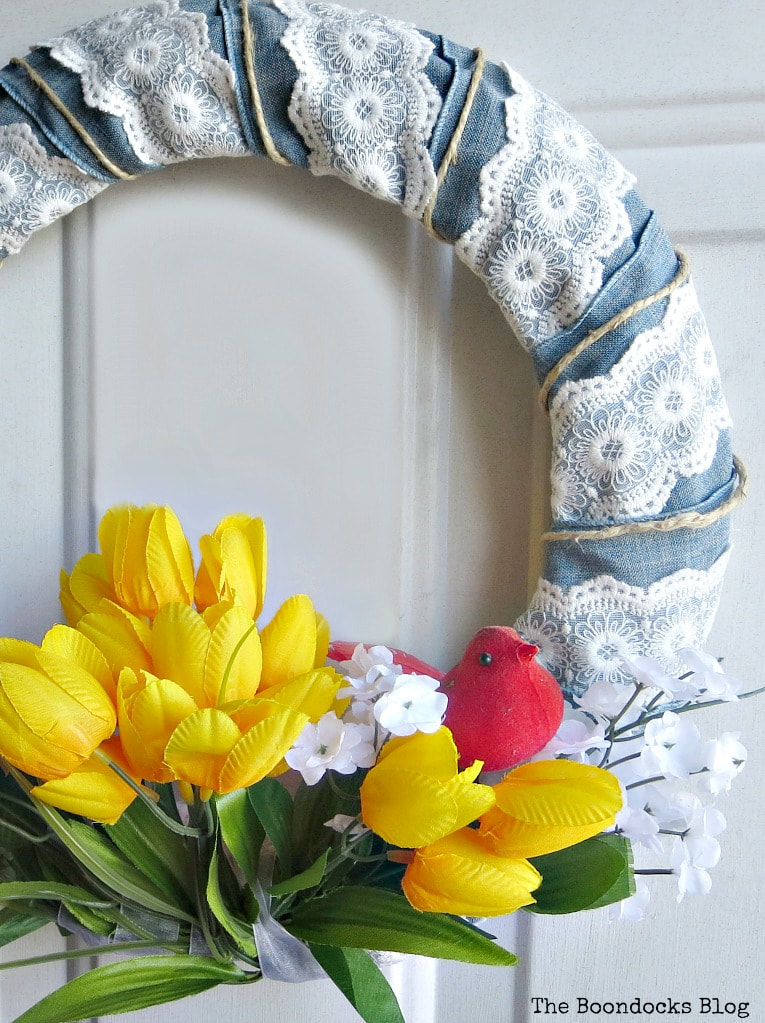 Finished spring wreath, How to Add Color to your Home with Wreaths www.theboondocksblog.com