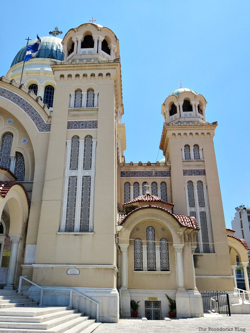 The towers on the left side of St. Andrew's Cathedral, Patras Greece, A Spotlight on Impressive Saint Andrew's Cathedral, www.theboondocksblog.com