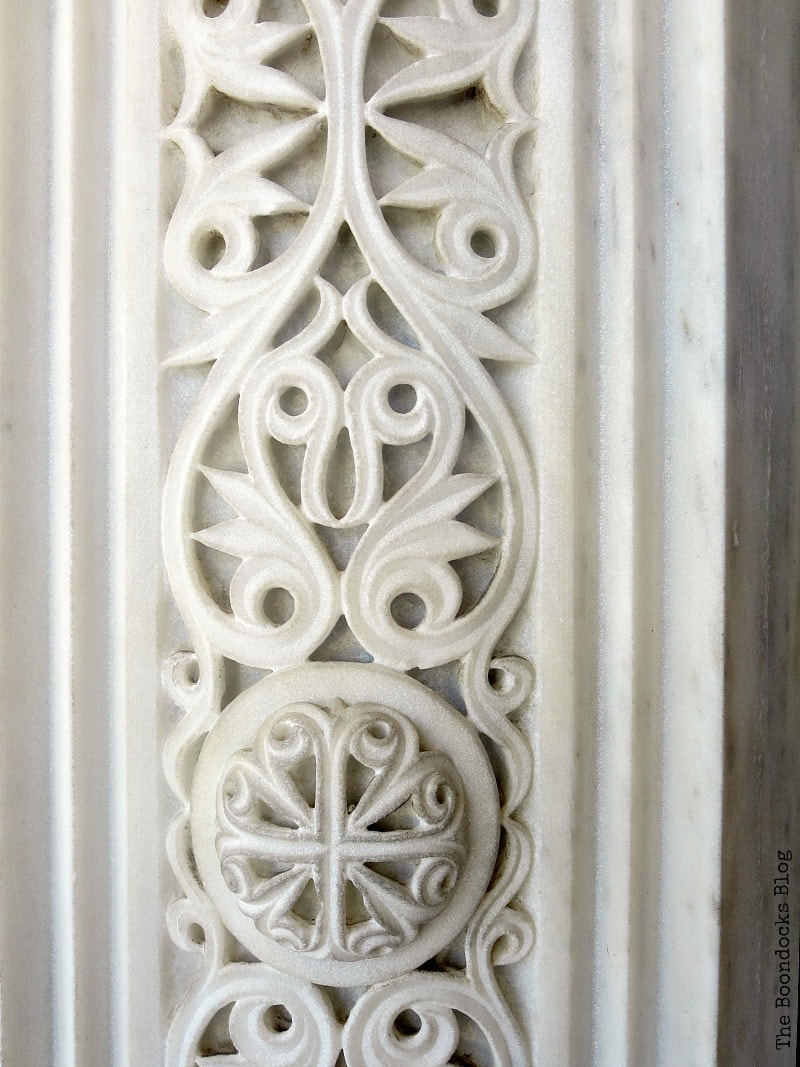 Detail of carved marble around the doorway, A Spotlight on Impressive Saint Andrew's Cathedral, www.theboondocksblog.com