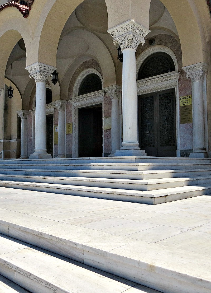 Entrance to St. Andrew's Cathedral Patra Greece, A Spotlight on Impressive Saint Andrew's Cathedral, www.theboondocksblog.com