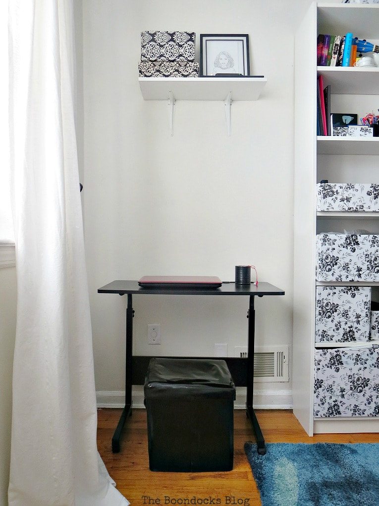 computer desk with white shelf on top, A Tour of the (mostly) black and white bedroom www.theboondocksblog.com