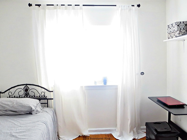 window covered by white curtains, A Tour of the (mostly) black and white bedroom www.theboondocksblog.com